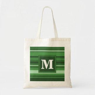 Monogram green stripes tote bag