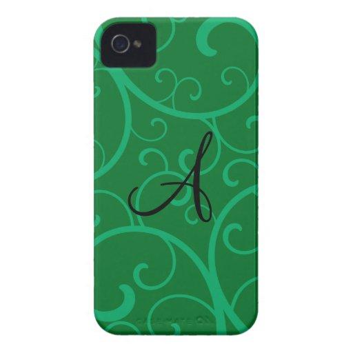 Monogram green swirls Case-Mate iPhone 4 cases