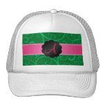 Monogram green swirls hats