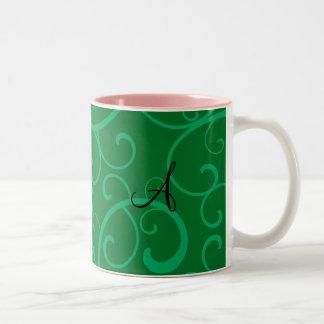 Monogram green swirls mug