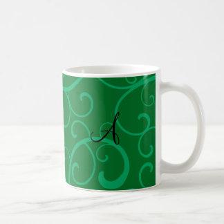 Monogram green swirls coffee mugs