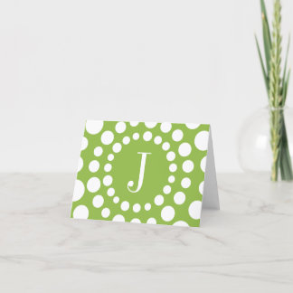 Monogram Green Template Initial Blank Note Card