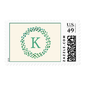 Monogram Green Watercolor Christmas Wreath Ivory Stamp