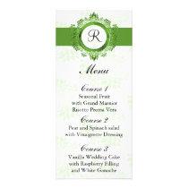 monogram green wedding menu