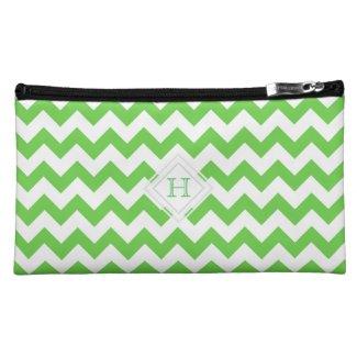Monogram: Green, White Chevron Pattern Bag Cosmetic Bags
