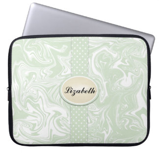 Monogram Green White Gray Polka Dots Swirl Sleeves