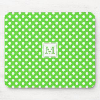 Monogram: Green & White Polka-Dot Mousepad