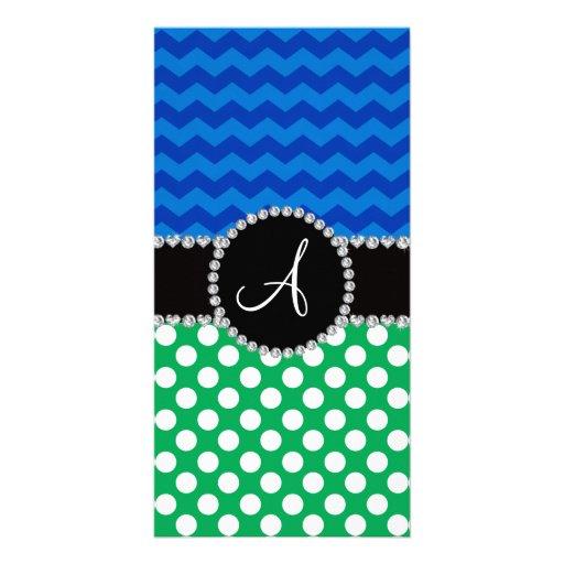 Monogram green white polka dots blue chevrons picture card