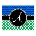 Monogram green white polka dots blue chevrons post card