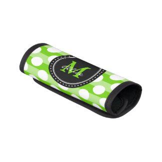 Monogram | Green White Polka Dots Striped Pattern Luggage Handle Wrap