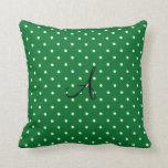 Monogram green white polka dots throw pillow