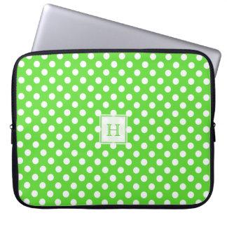 Monogram Green With White Polka-Dots Laptop Sleeve