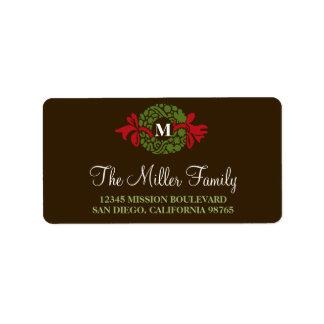Monogram green wreath brown holiday return address custom address labels