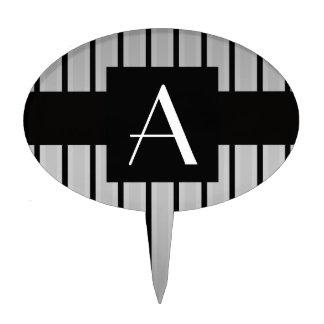 Monogram grey and black stripes cake topper