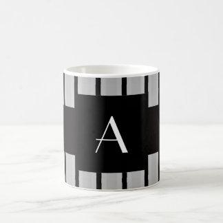 Monogram grey and black stripes coffee mug