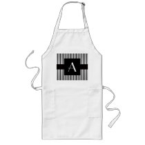 Monogram grey and black stripes long apron