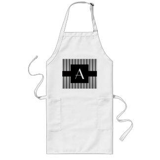 Monogram grey and black stripes long apron