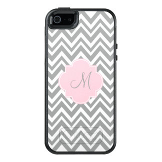 Monogram Grey and White Chevron with Pastel Pink OtterBox iPhone 5/5s/SE Case