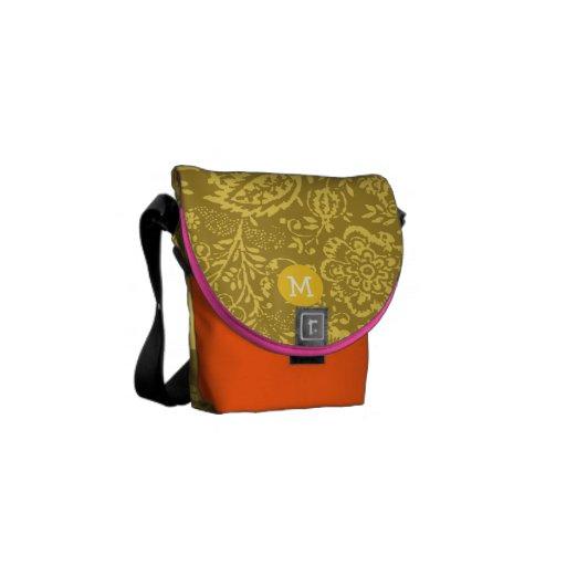 Monogram Grey and Yellow Vintage Floral Pattern Messenger Bag