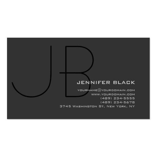 Monogram Grey Black Consultant Business Card