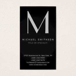 Monogram Grey Black Modern Simple Business Card