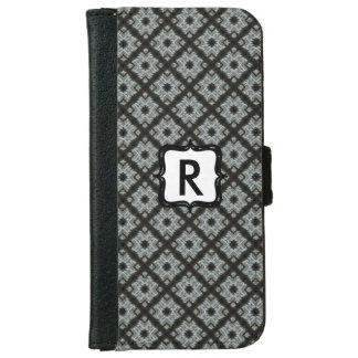 Monogram Grey Black pattern iPhone 6 Wallet Case
