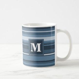 Monogram grey-blue stripes coffee mug