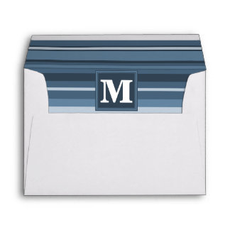 Monogram grey-blue stripes envelope