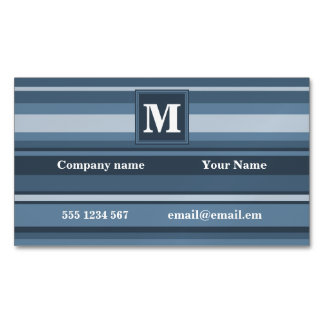 Monogram grey-blue stripes magnetic business card