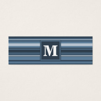 Monogram grey-blue stripes mini business card