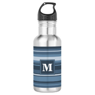 Monogram grey-blue stripes stainless steel water bottle