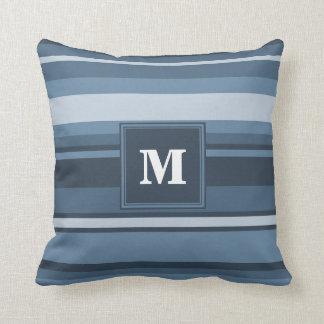 Monogram grey-blue stripes throw pillow