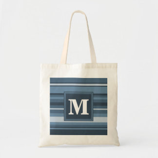 Monogram grey-blue stripes tote bag