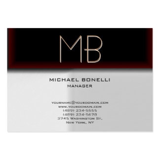 Monogram grey browny red stylish business card chubby business cards