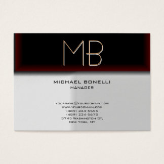 Monogram grey browny red stylish business card