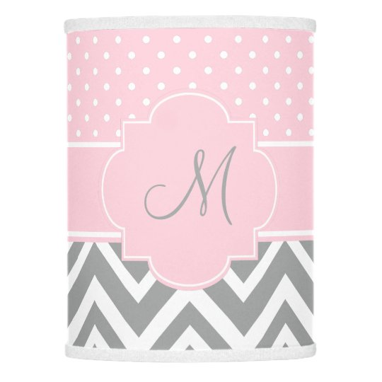 Monogram Grey Chevron With Pastel Pink Polka Dot Lamp