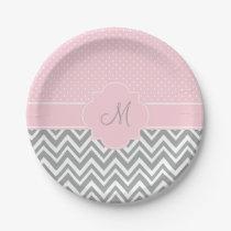 Monogram Grey Chevron with Pastel Pink Polka Dot Paper Plate