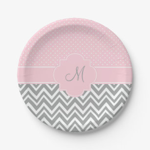 Monogram Grey Chevron with Pastel Pink Polka Dot Paper Plate  sc 1 st  Zazzle & Pink Grey Chevron Plates | Zazzle