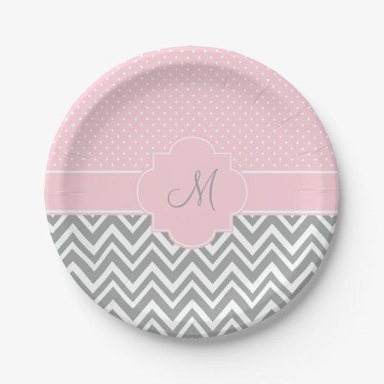 Monogram Grey Chevron with Pastel Pink Polka Dot Paper Plate  sc 1 st  Zazzle & Monogram Grey Chevron with Pastel Pink Polka Dot Paper Plate ...