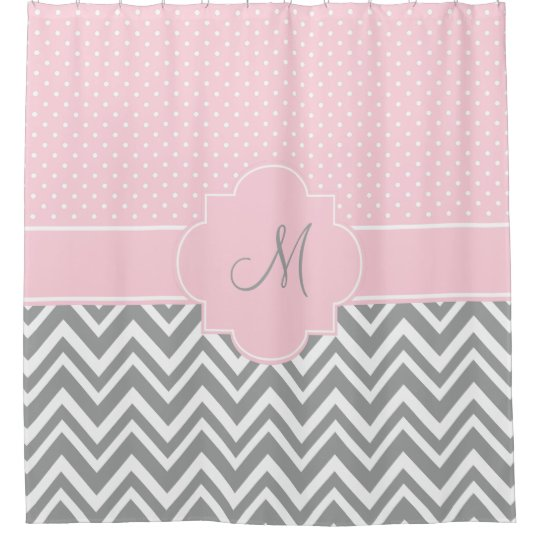 Monogram Grey Chevron with Pastel Pink Polka Dot Shower Curtain ...