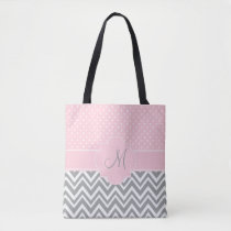 Monogram Grey Chevron with Pastel Pink Polka Dot Tote Bag