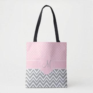 Monogram Grey Chevron with Pastel Pink Polka Dot Tote Bag