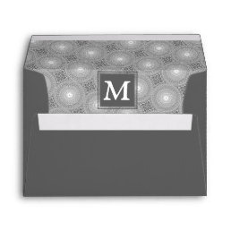 Monogram grey circles pattern envelope