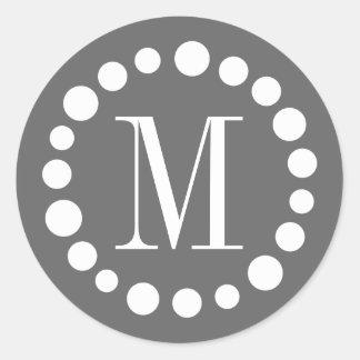 Monogram Grey Classic Round Sticker