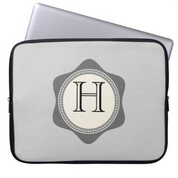 Professional Business Monogram,Grey,Creme, Laptop Sleeve