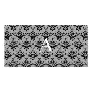 Monogram Grey damask Photo Card