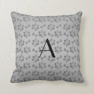 Monogram grey dog paw prints throw pillow