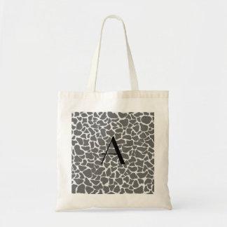 Monogram grey giraffe print tote bag