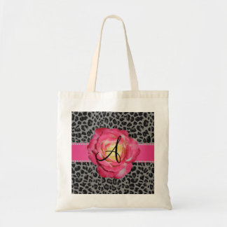 Monogram grey leopard print pink rose canvas bag