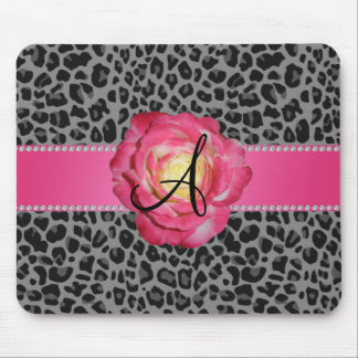 Monogram grey leopard print pink rose mouse pad